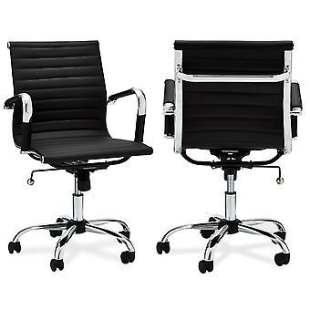 Chaise Furnhouse Designo Office Low Backrest, Black PU, Metal Base, 54x65x100 cm