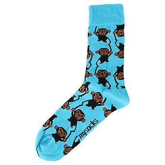 MySocks Monkey Socks - Blue/Brown