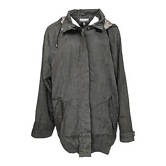 Magellan Women's Hooded Zipper Front Side Pockets Black