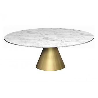 Gillmore Large Round Marble Coffee Table With Conical Brass Base