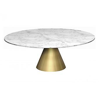 Gillmore suuri pyöreä marmori sohvapöytä kartiomainen messinki pohja