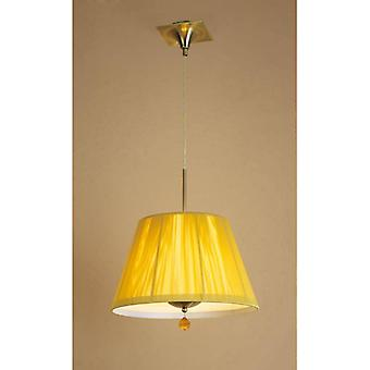 Siena Round Pendant Lamp 1 E27 Bulb, Antique Brass With Amber Cream Shade And Amber Crystal