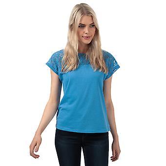 Frauen's Vero Moda Saga Spitze Panel T-Shirt in blau