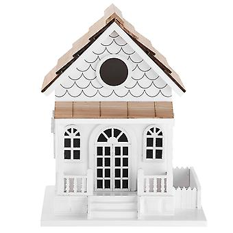 Deluxe handcrafted în aer liber Birdhouse din lemn, Bird-Friendly Perch (Country Colonial)