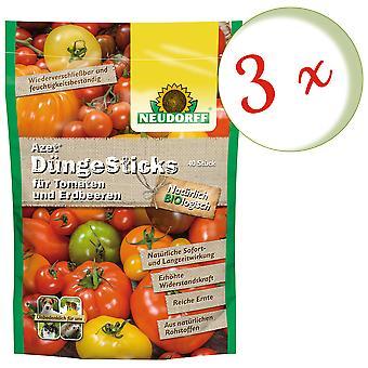 Sparset: 3 x NEWDORFF Azet® FertilizerSauvat tomaattien ja mansikoiden, 40 tikkua