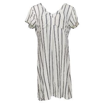 K Jordan Dress Sheath Style w/ V-Neckline & Striped Pattern White