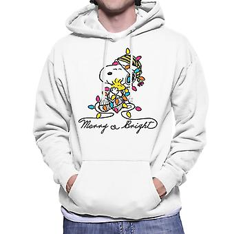 Peanuts Merry And Bright Snoopy Christmas Men's Hooded Sweatshirt
