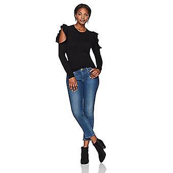 Lark & Ro Women & apos;s 100% الكشمير الناعمة كشكشة الكتف الباردة سترة, أسود, كبير