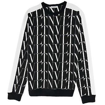 Valentino Logo Muster Kontrast Tape Stretch Sweatshirt schwarz/weiß