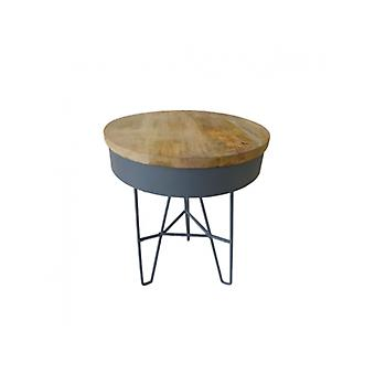 Deco4yourhome Iron Table Wood Top/Dark Grey S