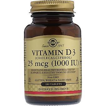 Solgar, Vitamina D3, 25 mcg (1.000 UI), 180 Comprimidos