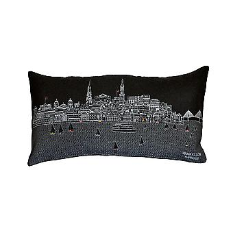 Spura Home Charleston Skyline Embroidered Wool Cushion Day/Night Setting