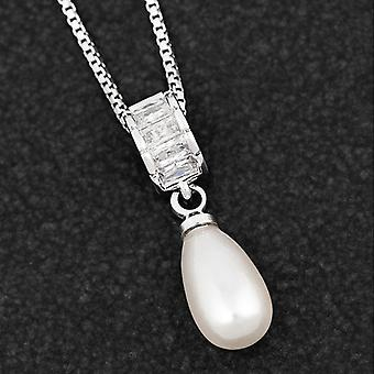 Teardrop Pearl Baguette Platinum Plated Necklace - Gift Boxed