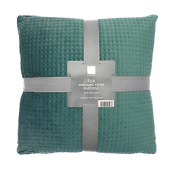 Country Club 2 Pack Velvet Cushions, Green