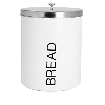Contemporary Bread Bin - Steel Kitchen Storage Caddy with Rubber Seal - White