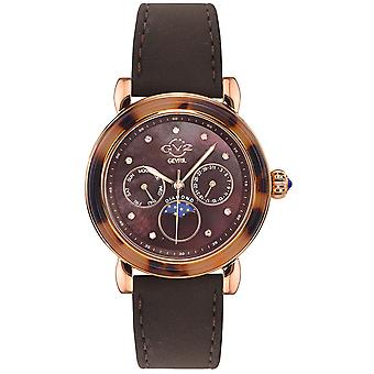 GV2 Tekijä Gevril Women's 9825.5 Moon Valley Diamond Brown Suede Day/Date Watch