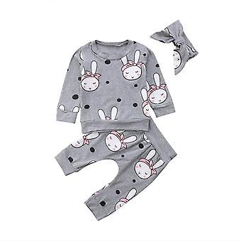 Automne Hiver Nouveau-né / Sleeper Clothes Set, Long Sleeve Cartoon Rabbit Tops &
