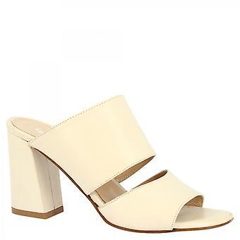 Leonardo Schuhe Frauen 's handgemachte High Heels Maultiere Sandalen aus elfenbeinfarbenem Kalbsleder