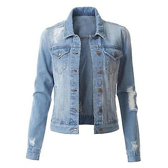 Ladies Denim Ripped Jacket, Simple Style, Short Jacket, Slim, Trendy Denim Jacket