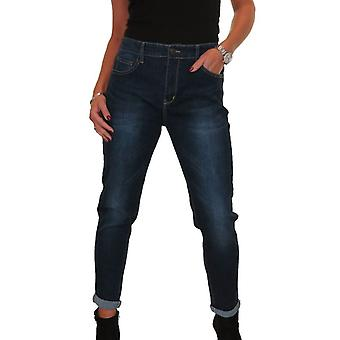Frauen's Everyday Casual High Waisted Comfy Stretch Denim Skinny Jeans Roll Up Manschetten 12-22