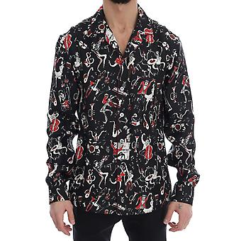 Black Silk JAZZ Motive Print Casual Shirt