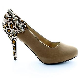 Shuperb Ladies Camel Court Shoes With Leopard Print And Bow Detail