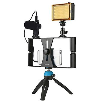 PULUZ 4 in 1 Vlogging Live Broadcast LED Selfie Light Smartphone Video Rig Kits with Microphone + Tripod Mount + Cold Shoe Tripod Head for iPhone, Gal