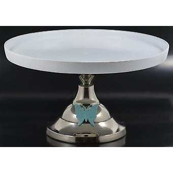 White Cake Stand With Turquoise Butterfly