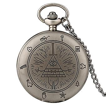 Eye Of Providence Weird Town Triangle Devil Quartz Pocket Watch