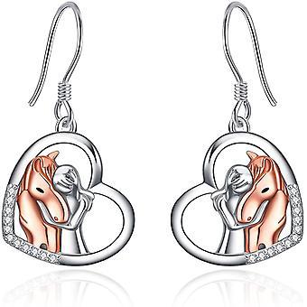 YFN Rose Gold Horse Earrings Jewellery Sterling Silver Animal Stud Earrings