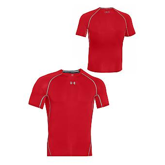 Under Armour Mens Heatgear Compression T-Shirt Gym Running Top Red 1257468 600
