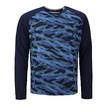 Reebok Klassische Langarm Crew Mens Navy T-Shirt Top T-Shirt AA9633 A21C
