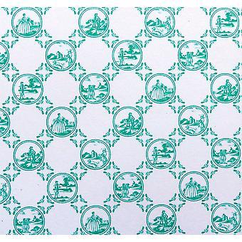 Melody Jane Dolls House Toile De Jouy Green Miniature Print 1:12 Papel de Parede