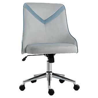 Vinsetto Office Chair Velvet-Feel Fabric Computer Home Leisure Chair Bedroom Armless Rocking with Wheels, Beige Blue