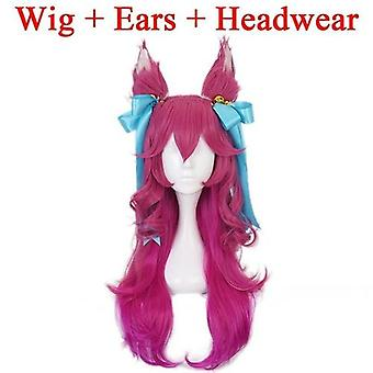Blossom Ahri Long Wig With Ears Headwear Cosplay Heat Resistant