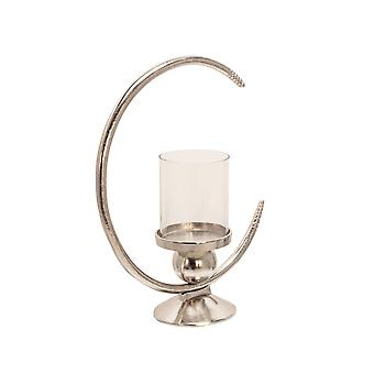 """Aluminum 19"""" Ring Candle Holder W/Glass, Silver"""