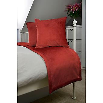 Matt rust red orange velvet bedding set
