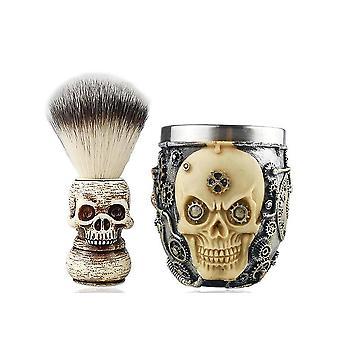 High-end Skull Design Scheerkwast Schuimende Zeep Bowl Set