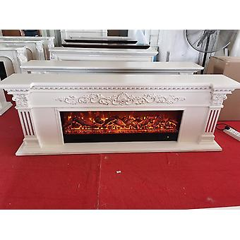 Warming Fireplace Wooden Mantel - Electric Insert Led Optical Artificial Flames