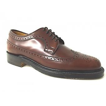 Men's Shoes Grenson Derby Laced In Brown Leather Cognac Handmade S1