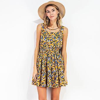 Letné ženy šifón kvetinové mini šaty elastický pás bez rukávov party