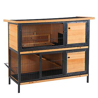 PawHut 2-Floor Wooden  Rabbit Guinea Pig Hutch Bunny Cage Metal Frame Elevated Pet House with Slide-Out Tray Feeding Trough Ramp Lockable Door Openable Roof Light Yellow 122 x 50 x 101cm