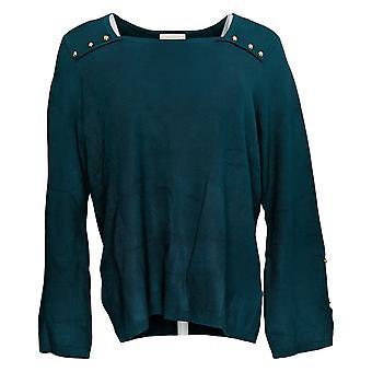 Belle par Kim Gravel Women's Sweater Knit Sq Neck w/Studs DeepTeal A310040