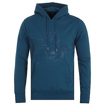 True Religion Buddha Embroidery Poseidon Blue Hooded Sweatshirt