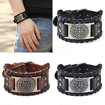 Retro bred læder pirat kompas armbånd mænd's armbånd Celtic Viking 2021 Nye smykker kompas armbånd tilbehør fest gave