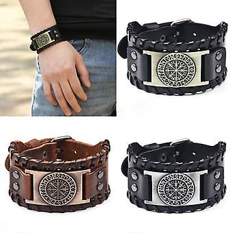 Retro Wide Leather Pirate Compass Bracelet Men's Bracelet Celtic Viking 2021 New Jewely Compass Bracelet Accessories Party Gift