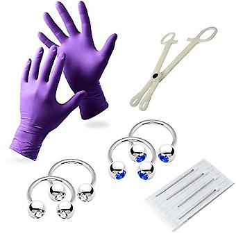 10-Piece 12 gauge piercing kit - including gloves, needles, tool & jewelry