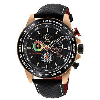 GV2 Heren's Scuderia Black Dial Zwart Lederen Chronograaf Datum horloge