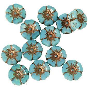 Tjeckiska glaspärlor, Hibiskusblomma 11mm, Aqua Silk, Mörk bronstvätt, 1 strand, av Raven's Journey