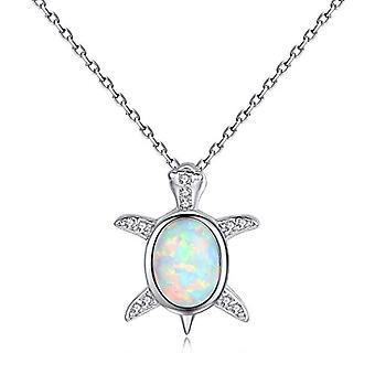 Gemshadow women girls 925 sterling Silver created Opal Baby Sea Turtle Necklace